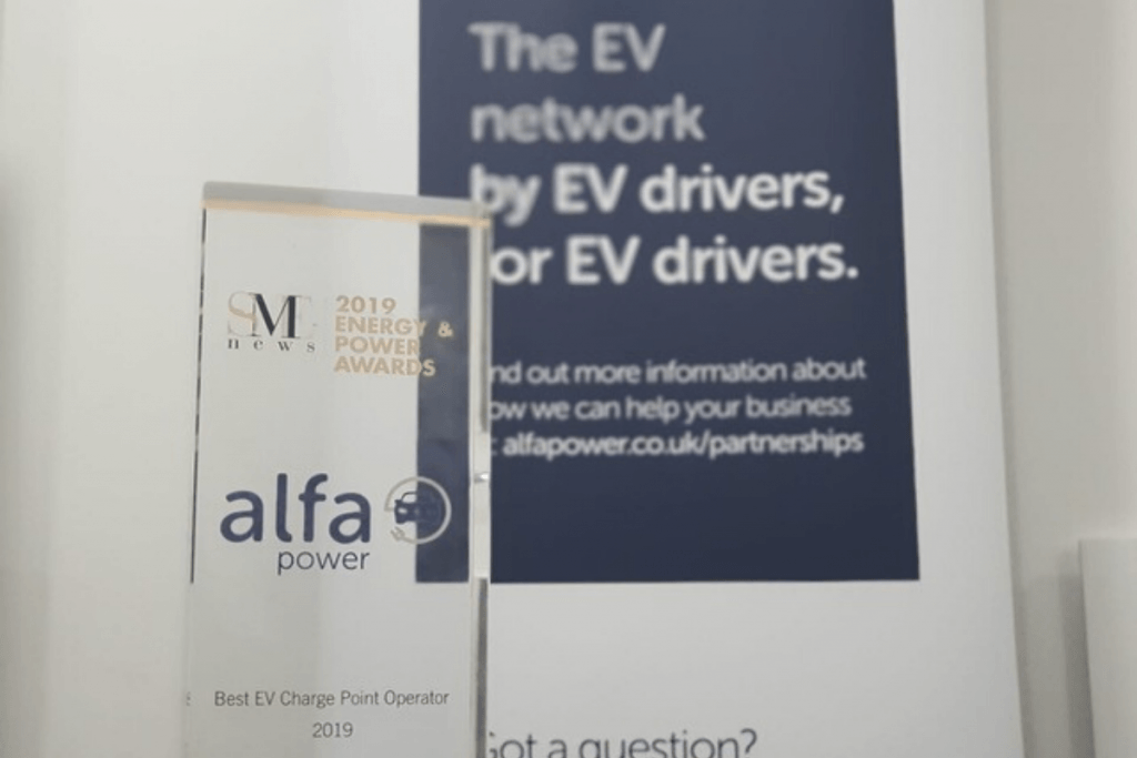 alfa power glass trophy for best ev charge point